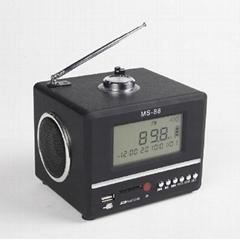 MS-88portable card speaker with FM radio/alarm clock Function