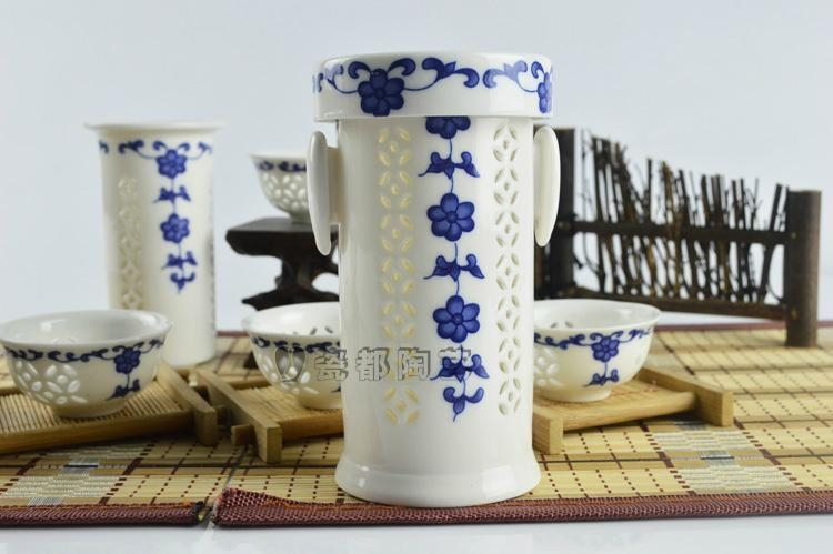 White jade porcelain hollow out blue and white porcelain tea cups 2