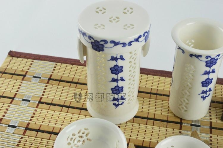 White jade porcelain hollow out blue and white porcelain tea cups 5
