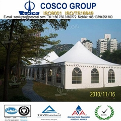 outdoor marquee with aluminium structure and PVC fabric