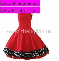 NEW RED BLACK POLKA DOT COLLARED VINTAGE 1950's ROCKABILLY SWING EVENING DRESS