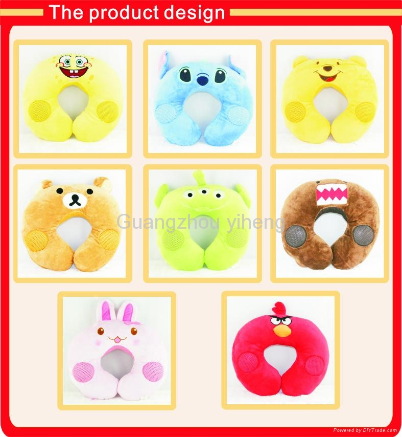 OEM cartoon soft u-shape musical neck pillow for travel 5