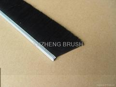 Long trim metal channel strip brushes