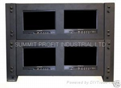 "Quad Rack Mount Monitor Frames w/ Four 7"" LCD Monitors"