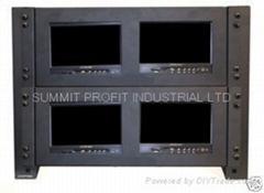 "Quad Rack Mount Monitor Frames w/ Four 7"" LCD Monitors"