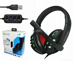 USB Multimedia Headphone with LED Light (KOMC) KM-9700