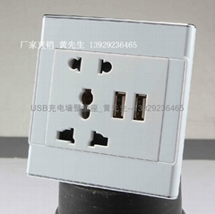 银边USB充电墙壁插座双横向带USB五孔插座