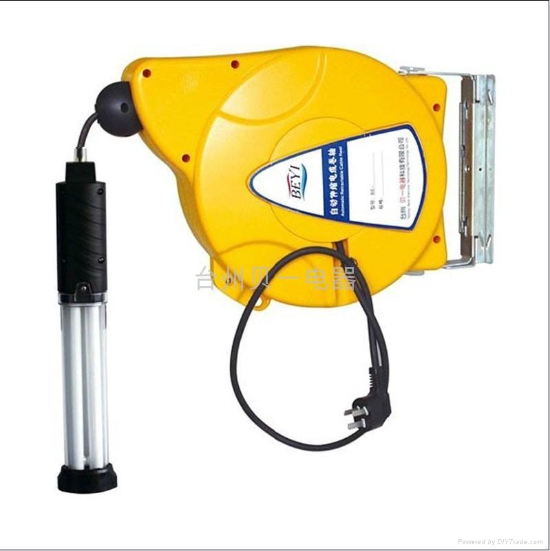 供应贝一自动伸缩卷管器 卷线器 灯鼓 日光灯 国标橡胶线 3