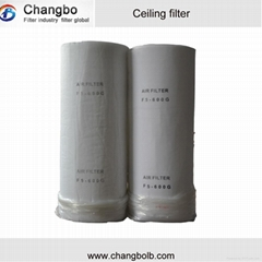 Synthetic spray booth ceiling filter