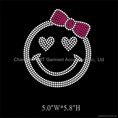 Cute Smile Face Iron on Rhinestone Transfer Hot Fix Bling for kids' clothing