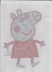 Hot Fix Rhinestone Transfer Peppa Pig Iron on Bling