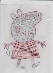 Hot Fix Rhinestone Transfer Peppa Pig Iron on Bling