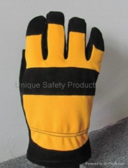 Winter Black cowhide split leather Fleece lining work glove