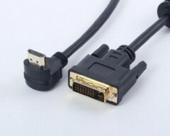 DVI(24+1) M to HDMI M 90 degree Cable