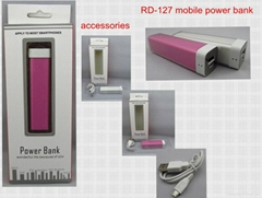 2500mAh portable power bank for iphone/ipad/ipod/samsung/htc/nokia/blackberry