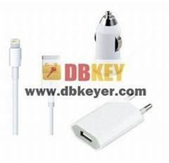 3 in1 Kit Charger For iphone 5, 8 pin USB Cable Car Charger+Wall Charger,