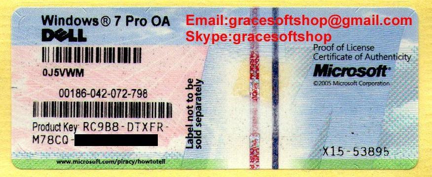 dell windows 7 professional oem coa label sticker license key card x15 ms china software. Black Bedroom Furniture Sets. Home Design Ideas