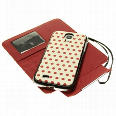 magnetic 2in1 dot leather case for Samsung galaxy S4 i9500
