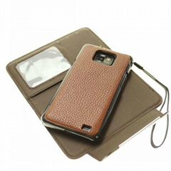 2in1 magnetic leather wallet case for samsung galaxy S2 i9100