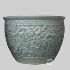 供应手工微雕陶瓷大缸 陶瓷高脚缸 陶瓷鱼缸 乔迁礼品陶瓷大缸