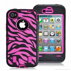 wholesale promotion zebra case for iphone 4 4s silicone and pc hybrid case
