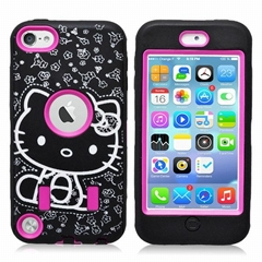 New arrival Hello kitty r   ed case for I POD touch5 with screen protector