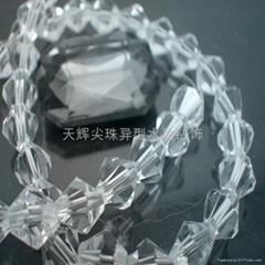 尖珠菱形珠8厘机磨空心珠横孔尖珠颜色齐全