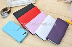 iPhone 5 Case Leather Flip Wallet Case Cover Pouch with ID Credit Card Slot