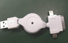 3 in 1 Retractable 8 pin + 30 pin + Micro USB Data Charge Cable for iPhone 5 ZM