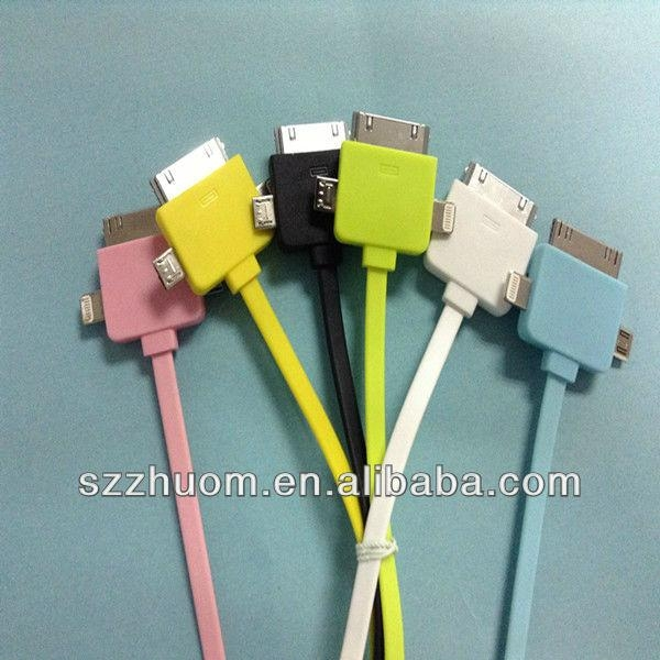 2013 Colorful 3 in 1 USB cable for iPhone ZM-IP5C12A 3