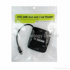 OTG Micro USB type Hub and Card Reader  support HI-Speed USB devices USB Mouse