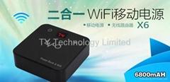 wireless router  power bank ,2 in one polymer battery Ultrathin model 6800mAh
