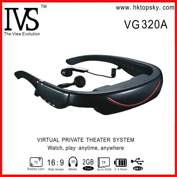 72inch virtual screen video glasses with av in, 4G memory 1