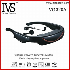 72inch virtual screen video glasses with av in, 4G memory
