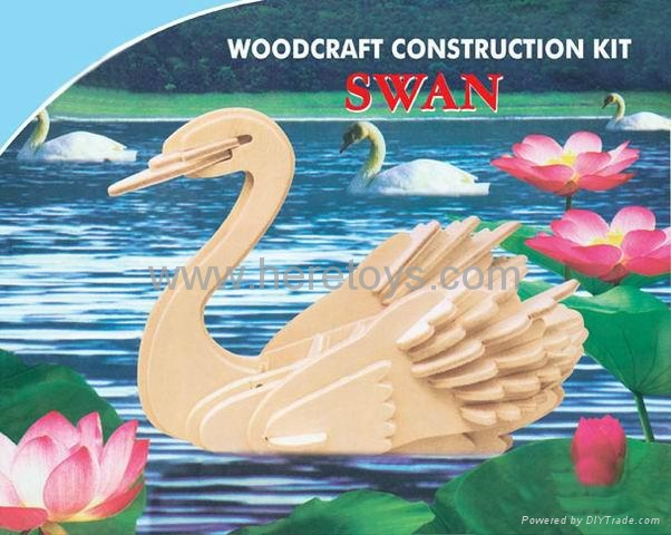 3D puzzle wooden papercard toys educational toys dinosaur submarine swan 5