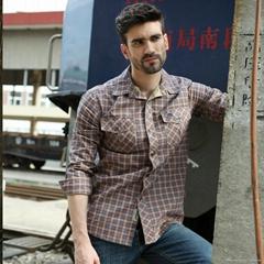 2013 popular checker fashion cotton men's shirt