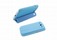 PC Rubberized Case for Samsung S3 i9300 with PU leather docking station