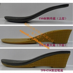 TPR shoe sole for ladies sandals,tpr outsole+eva insole