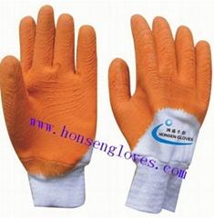 棉毛布浸膠手套