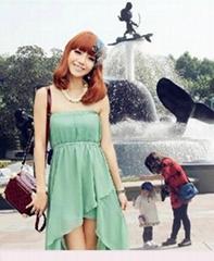 New Womens Strapless Temperament Irregular Skirt Gauze Green Long Maxi Dress
