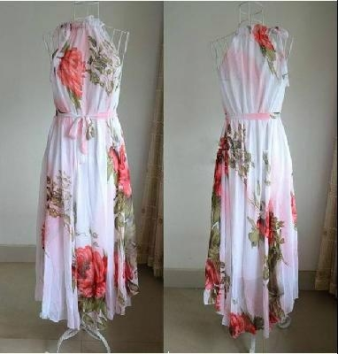 67e79d8fc02d ... Summer Elegant BoHO Lotus Leaf Big Hem Chiffon Maxi Flowers Dress 3 ...