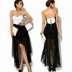 Women Asymmetric Cocktail Party Evening Dress Sexy Strapless Dress Summer