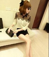 2013 HOT Womens Casual Black Lace Chiffon Splicing Shirt Long Sleeve Blouse Tops