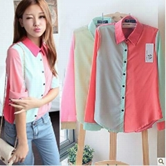 Spring Fashion Women Color Block Print Chiffon OL Lapel Blouse Shirt Tops career
