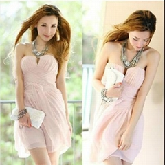 New Women's Girl's PINK Strapless Cocktail Party Club Evening Races Sexy Dress