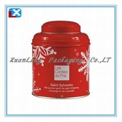 Red Small round tin box