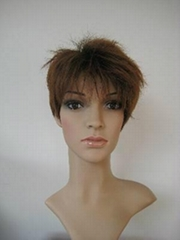 Women brown bingle short tousy party wig wigs hair