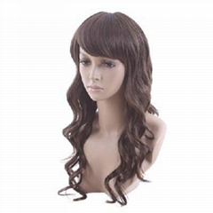 Capless long Curly Medium Brown Synthetic Wig 70cm