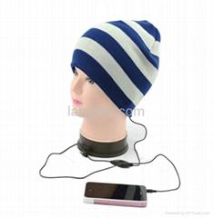 cute winter knitted beanie hat earmuff with headphone