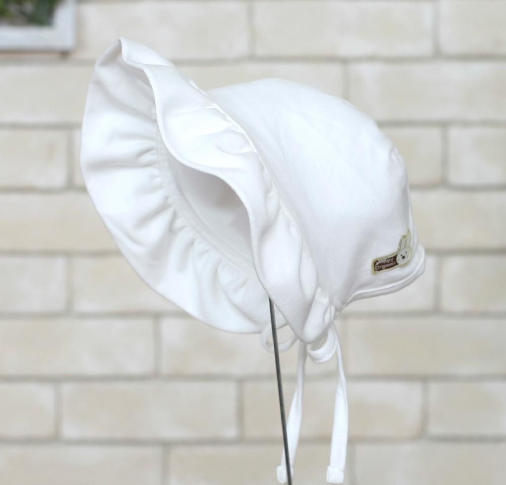 Organic Cotton Baby Frilly Bonnet Hat 3